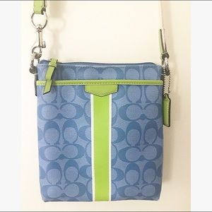 Blue and green coach crossbody purse